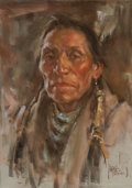 Western:20th Century, PROPERTY FROM THE DUFFY AND TINA OYSTER FOUNDATION. HARLEY BROWN (Canadian/American, b. 1939). Portrait of an Indian. ...