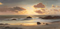 Paintings, ROBERT WILLIAM WOOD (American, 1889-1979). Sunset Cove. Oil on canvas. 20 x 40 inches (50.8 x 101.6 cm). Signed lower ri...