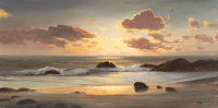 ROBERT WILLIAM WOOD (American, 1889-1979) Sunset Cove Oil on canvas 20 x 40 inches (50.8 x 101.6