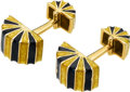 Estate Jewelry:Cufflinks, Enamel, Gold Cuff Links, David Webb. ... (Total: 2 Items)