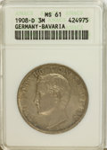 German States:Bavaria, German States: Bavaria. Otto 3 Mark 1908D,...