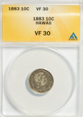 Coins of Hawaii: , 1883 10C Hawaii Ten Cents VF30 ANACS. NGC Census: (12/265). PCGSPopulation (30/401). Mintage: 250,000. (#10979)...