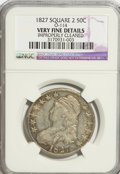Bust Half Dollars, 1827 50C Square Base 2--Improperly Cleaned--NGC. Very Fine Details.O-114. NGC Census: (7/1719). PCGS Population (6/1481)....
