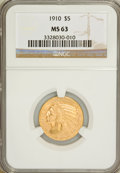Indian Half Eagles, 1910 $5 MS63 NGC....
