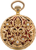 Timepieces:Pocket (post 1900), Longines Gold, Enamel & Diamond Miniature Pocket Watch, circa1905. ...