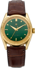 Timepieces:Wristwatch, Rolex Exceptionally Rare Ref. 6101 With Green Enamel Dial, circa 1951. ...