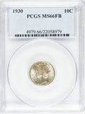 Mercury Dimes: , 1930 10C MS66 Full Bands PCGS. PCGS Population (79/13). NGC Census:(21/4). Mintage: 6,770,000. Numismedia Wsl. Price for p...