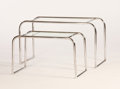 Furniture : French, ADRIENNE GORSKA FOR JEAN ROBERT BOIVINET FOR PRIMAVERA PARIS. APair of Chrome Plated Metal and Glass Tables, circa 1930. 21...(Total: 2 Items)