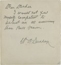Autographs:Letters, Billy Sunday Handwritten Signed Note with Baseball Content....