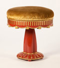 Furniture : French, Manner of PAUL FOLLOT. A Carved, Lacquered, and Gilt Wood Tabouret,circa 1925. 18 x 16-1/2 inches (45.7 x 41.9 cm). ...