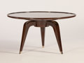 Furniture : French, In the style of ALFRED PORTENEUVE. A French Brown-Lacquered andNickel Gueridon, circa 1930. 18-1/2 x 35-1/2 inches (47.0 x ...