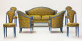 Furniture : French, MAURICE DUFRÊNE. A Lacquered and Gilt Wood Salon Suite, circa 1920.37 x 61 x 29 inches (94.0 x 154.9 x 73.7 cm) sofa. 35 x ... (Total:7 Items)
