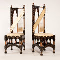 Furniture : Continental, CARLO BUGATTI. A Pair of Ebonized, Copper and Pewter Inlaid WalnutSide Chairs, circa 1905. 47 x 16 x 16 inches (119.4 x 40....(Total: 2 Items)
