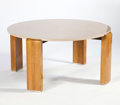Furniture , LOUIS SOGNOT. An Oak, Pink/Beige Stone, and Nickel Low Table, circa 1930. 19-1/2 x 41 inches (49.5 x 104.1 cm). ...