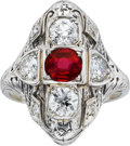 Estate Jewelry:Rings, Edwardian Ruby, Diamond, White Gold Ring. ...
