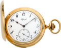 Timepieces:Pocket (post 1900), Tiffany & Co. High Grade Gold Five Minute Repeater, circa 1902....