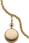 Timepieces:Pocket (post 1900), Swiss Fancy Dial Hunters Case & Chain, circa 1905. ...