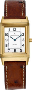 Timepieces:Wristwatch, Jaeger LeCoultre Gents Gold Reverso, circa 1980's. ...
