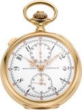 Timepieces:Pocket (post 1900), Patek Philippe & Cie Very Fine Gold Pocket Watch withSplit-Seconds Chronograph and Instantaneous 60-Minute Register,circa 19...