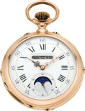 Timepieces:Pocket (pre 1900) , Swiss Fine Gold Triple Date Moon Phase Pocket Watch, circa 1880's....