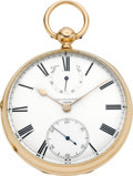 Timepieces:Pocket (pre 1900) , J. Sewill Liverpool Rare Gold Pocket Chronometer With Up/DownIndicator, circa 1870. ...