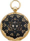 Timepieces:Pocket (pre 1900) , Patek Philippe Early Enamel & Diamond Miniature Key Wind, circa1865. ...