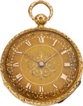 Timepieces:Pocket (pre 1900) , Le Roy & Fils Paris Fine Raised Relief Gold Pocket Watch &Box, circa 1830. ...