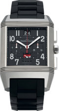 Timepieces:Wristwatch, Jaeger LeCoultre Reverso Squadra Fine Rare Reversible ChronographWorld Time Limited Edition Titanium Wristwatch, circa 2007...