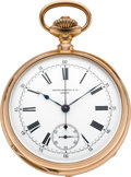 Timepieces:Pocket (pre 1900) , Patek Philippe Very Fine Gold Pocket Watch With Chronograph, circa1888. ...