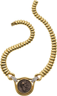 Ancient Coin, Diamond, Gold Necklace