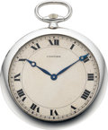 Timepieces:Pocket (post 1900), Cartier Rare Platinum Ultra Thin By European Watch & Clock Co.,circa 1920. ...