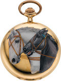Timepieces:Pocket (post 1900), Swiss Gold & Enamel Horse Motif Pocket Watch, circa 1907. ...