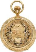 Timepieces:Pocket (pre 1900) , Albin Bourguin Ladies Ladies Gold & Enamel Pocket Watch, circa1880's. ...