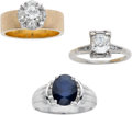 Estate Jewelry:Lots, Lot of Diamond, Sapphire, Gold Rings. ... (Total: 3 Items)
