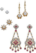 Estate Jewelry:Lots, Lot of Diamond, Ruby, Gold Earrings. ... (Total: 8 Items)