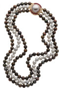 Estate Jewelry:Necklaces, Black & Gray Cultured Pearl, Diamond, Ruby, Gold Necklace. ...