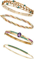 Estate Jewelry:Lots, Lot of Diamond, Multi-Stone, Gold Bracelets. ... (Total: 2 Items)