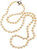 Estate Jewelry:Necklaces, Cultured Pearl, Diamond, White Gold Necklace. ...
