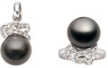 Estate Jewelry:Suites, Black South Sea Cultured Pearl, Diamond, White Gold Jewelry Suite.... (Total: 2 Items)