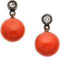 Estate Jewelry:Earrings, Coral, Diamond, Silver, Gold Earrings. ... (Total: 2 Items)