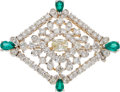 Estate Jewelry:Brooches - Pins, Diamond, Tsavorite, White Gold Brooch. ...