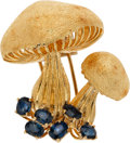Estate Jewelry:Brooches - Pins, Sapphire, Gold Clip-Brooch. ...