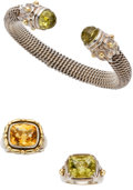 Estate Jewelry:Lots, Lot of Citrine, Gold, Sterling Silver Jewelry . ... (Total: 3Items)