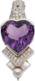 Estate Jewelry:Pendants and Lockets, Amethyst, Diamond, White Gold Enhancer. ...