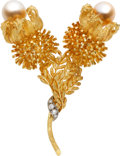 Estate Jewelry:Brooches - Pins, Baroque Cultured Pearl, Diamond, Gold Brooch. ...