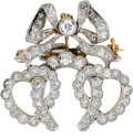 Estate Jewelry:Brooches - Pins, Antique Diamond, Platinum-Topped Gold Pendant-Brooch. ...