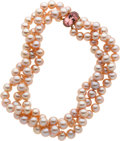 Estate Jewelry:Necklaces, Freshwater Pink Cultured Pearl, Pink Tourmaline, Gold Necklace, Laura Munder. ...