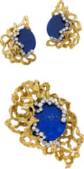 Estate Jewelry:Suites, Lapis Lazuli, Diamond, Gold Jewelry Suite, circa 1970. ... (Total:3 Items)