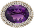 Estate Jewelry:Brooches - Pins, Amethyst, Diamond, Cultured Pearl, White Gold Brooch. ...