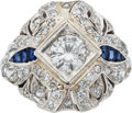 Estate Jewelry:Rings, Art Deco Diamond, Sapphire, Platinum Ring . ...
